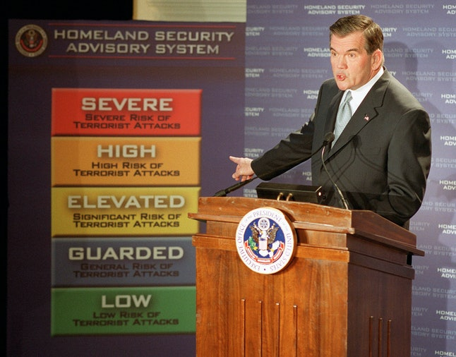 In 2002, then-Department of Homeland Security chief Tom Ridge unveiled a new threat advisory system. The system was replaced in 2011.