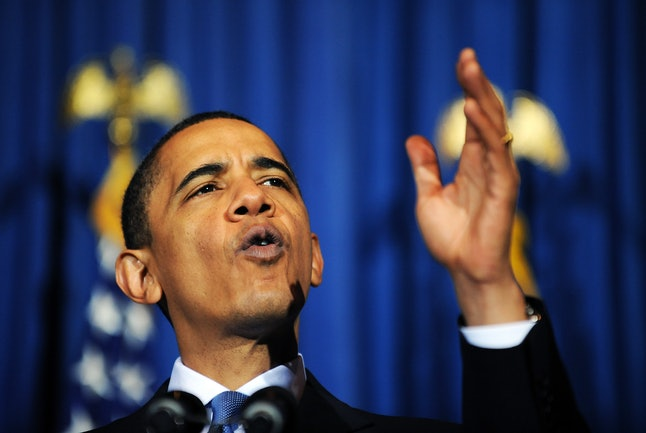 President Barack Obama speaks at a rally celebrating passage of the Affordable Care Act in 2010.