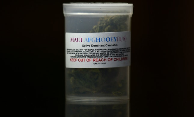 A one-eighth-ounce container of Maui Afghooey medical marijuana displayed at the PureLife Alternative Wellness Center on July 27, 2012, in Los Angeles