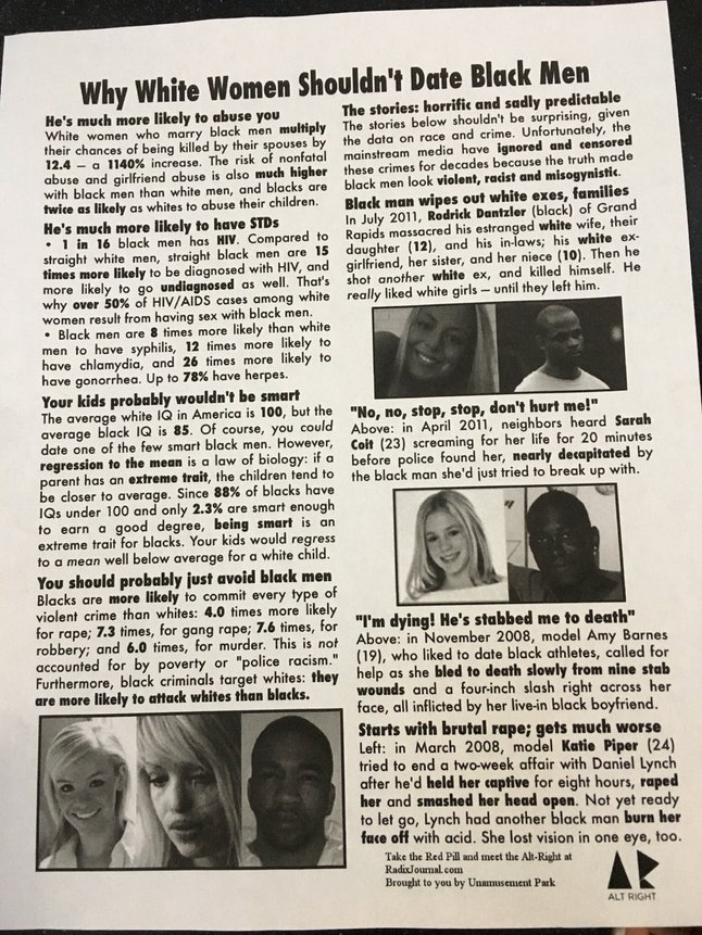 """""""Why White Women Shouldn't Date Black Men"""" poster on University of Michigan campus"""