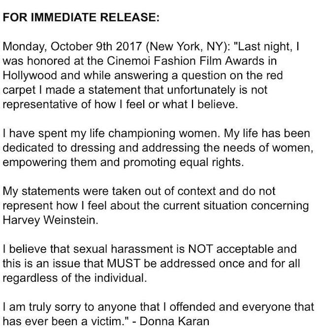 A screenshot of Donna Karan's official statement