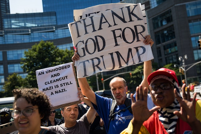 A counterprotester and supporter of President Donald Trump makes his voice heard during an anti-racism demonstration in New York City.