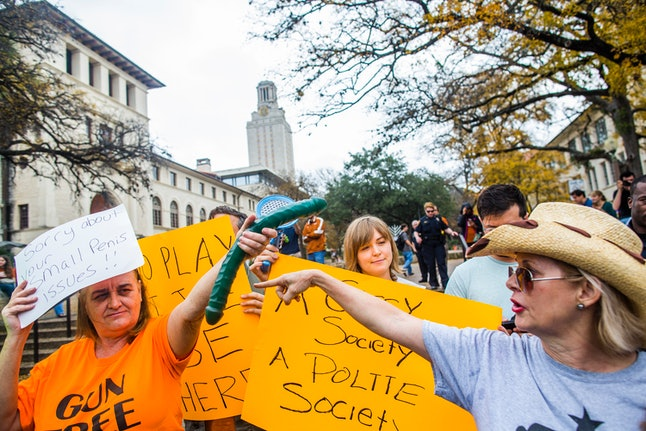 Protestors at the University of Texas at Austin are fighting a law that allows guns in college classrooms — with dildos.