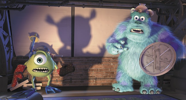Mike, voiced by Billy Crystal, and Sulley, voiced by John Goodman, the main characters in 'Monsters, Inc.'
