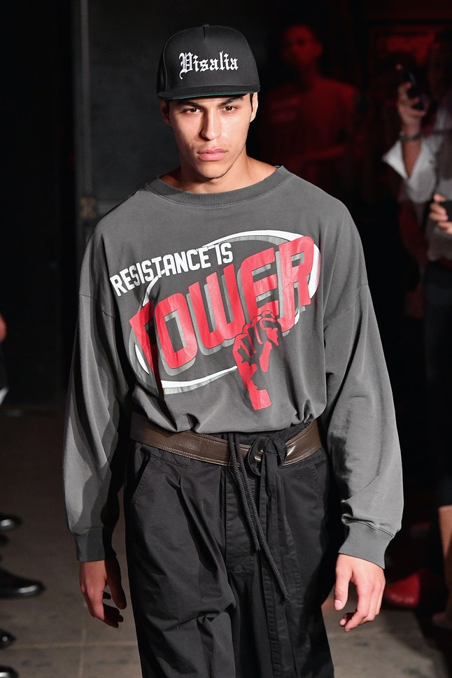 A model at the Willy Chavarria show at NYFW: Men's