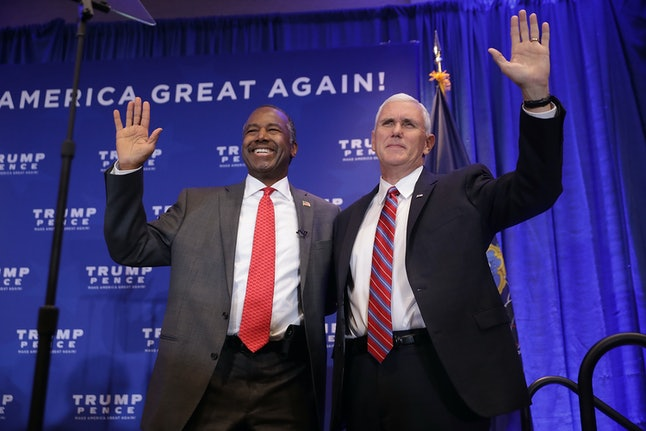 Ben Carson with Mike Pence at a campaign rally in 2016