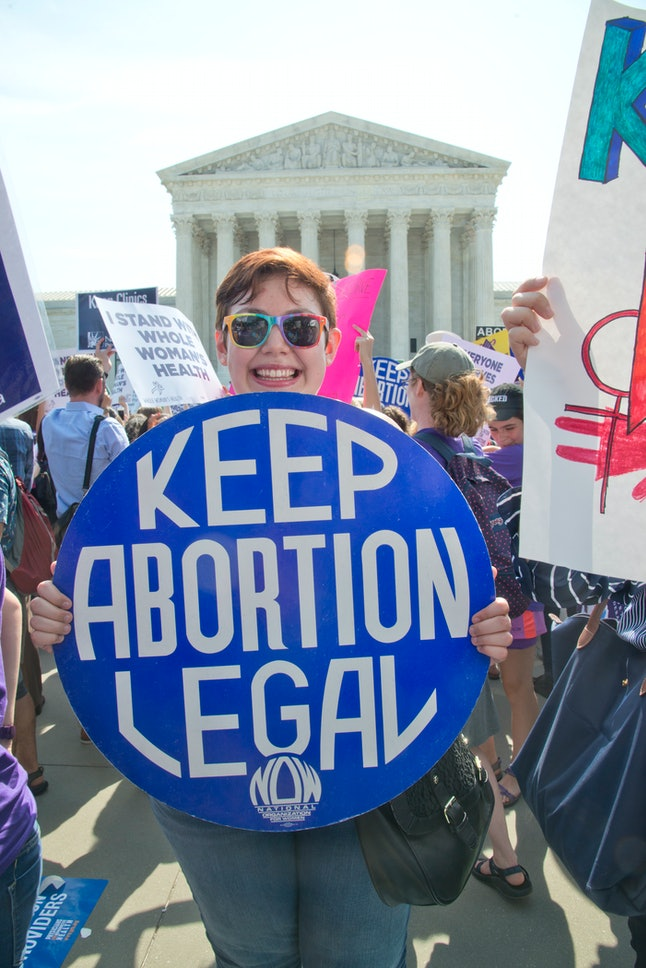 A pro-choice demonstrator in front of the U.S. Supreme Court