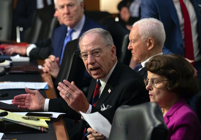 Sen. Chuck Grassley (R-Iowa) addresses members of the Senate Judiciary Committee as Brett Kavanaugh's Supreme Court confirmation hearing got off to a contentious start Tuesday.