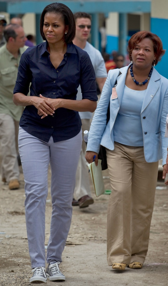 Michelle Obama visiting Port-au-Prince, Haiti after the earthquake in 2010