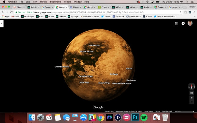 Titan, the solar system's second-largest moon, in Google Maps