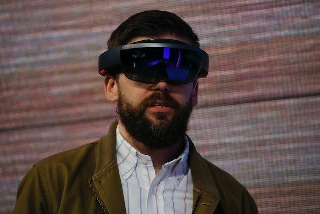 The Microsoft HoloLens AR headset.