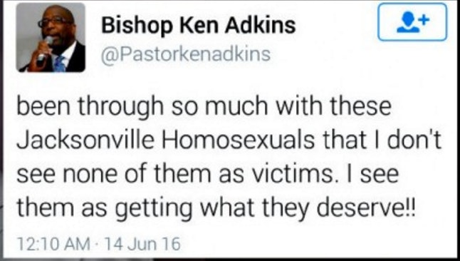 Ken Adkins tweet, sent two days after the Pulse shooting