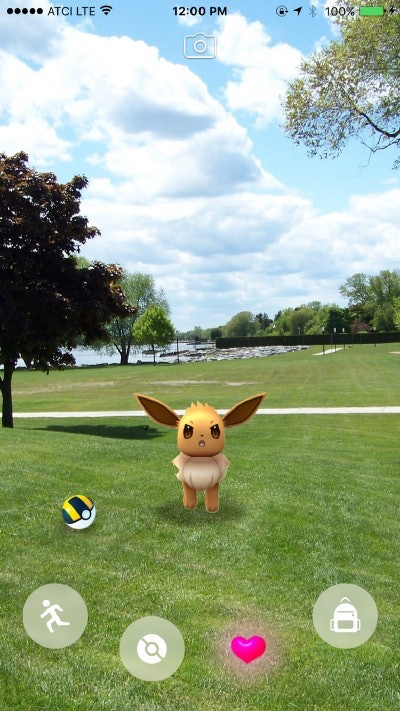 An Eevee looking determined after coming out of its Ultra Ball in Choi's ARKit mockup.