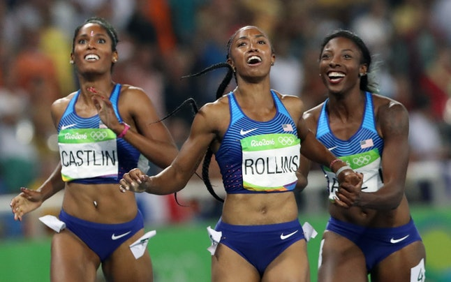 Kristi Castlin, Brianna Rollins and Nia Ali find out that they made a medal sweep in the 100 meter hurdles at the 2016 Rio Olympics.