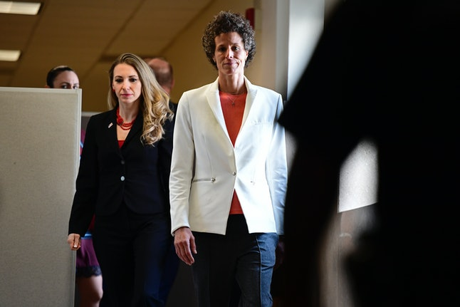 Andrea Constand, plaintiff for the Bill Cosby trial, arrives at the Montgomery County Courthouse for the fifth day of his sexual assault retrial.