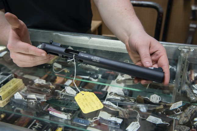 A silencer is displayed at Ed's Public Safety gun shop in Stockbridge, Georgia.