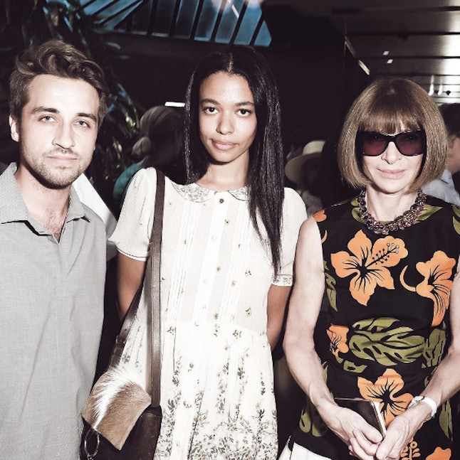 Aurora James (C) with Beckett Fogg (L) and Anna Wintour (R)