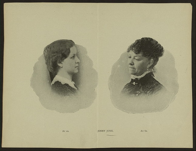 Jane Cunningham Croly wrote under the pen name Jennie June. She was one of the first American women to write a syndicated column.