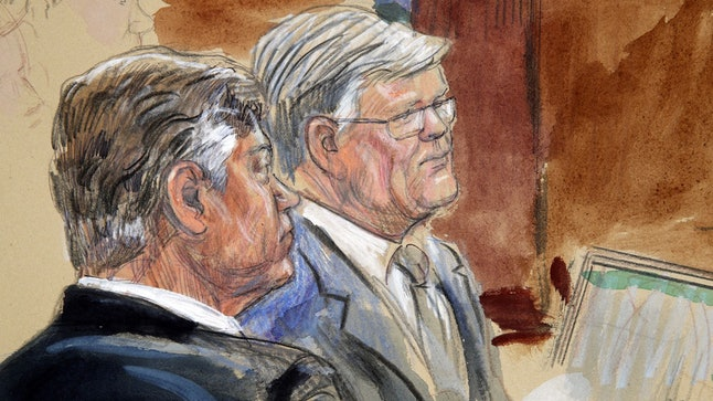 Courtroom sketch of former Trump campaign chairman Paul Manafort listening with his lawyer, Kevin Downing