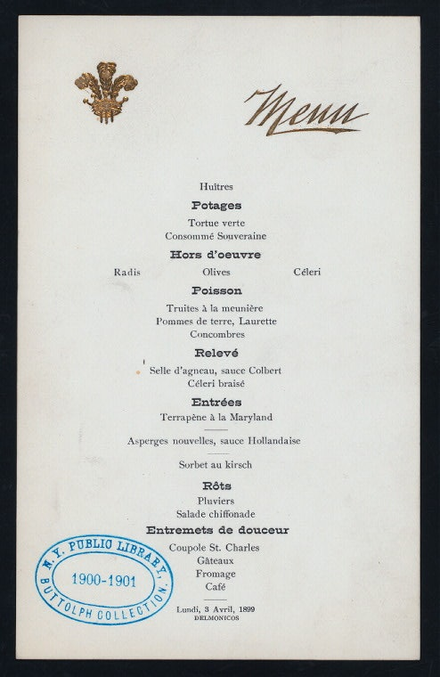 The earliest printed Ladies' Luncheon menu available in the archives