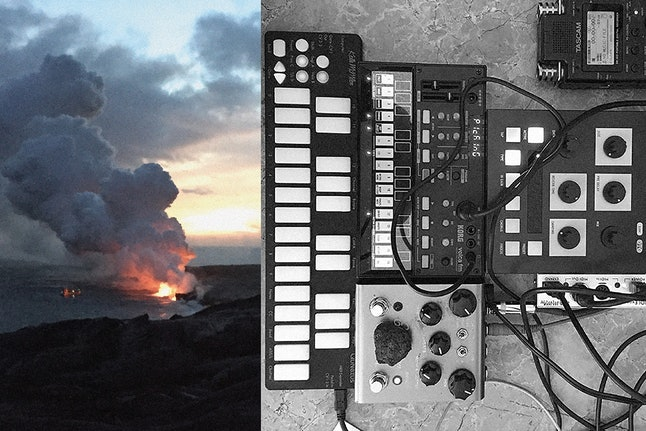 An erupting volcano and M. Geddes Gengras's musical setup while recording on Hawaii.