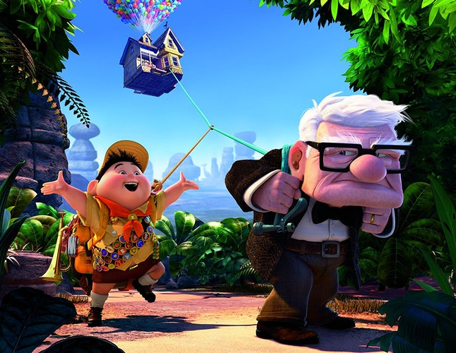 Carl, voiced by Edward Asner, and Russell, voiced by Jordan Nagai, in 'Up'