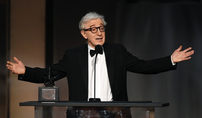 Woody Allen speaks at the Dolby Theatre in Los Angeles.