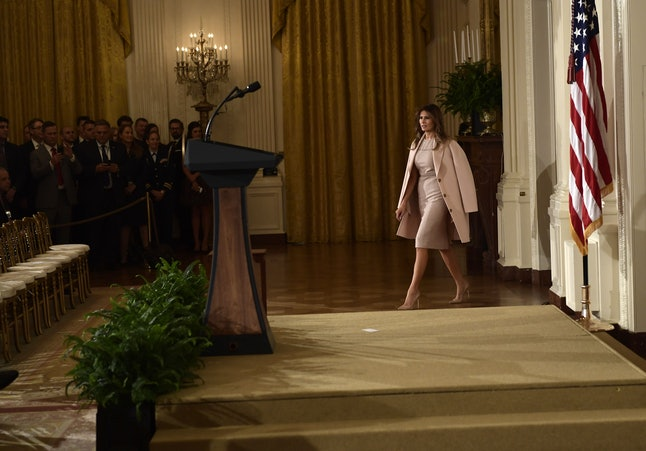 Melania Trump arrives for a nomination announcement at the White House.