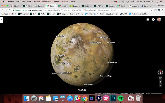Io, a volcanic moon of Jupiter, in Google Maps