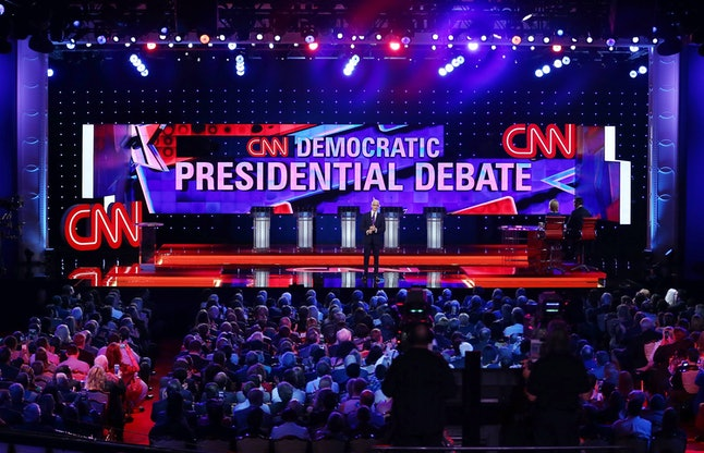 An empty stage on the night of the debate