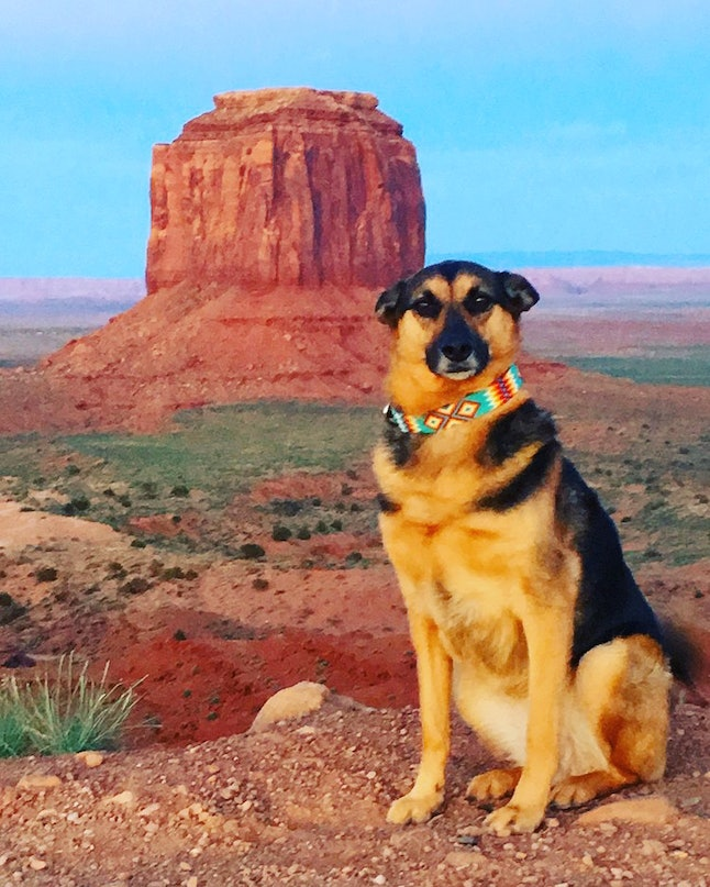 Sophie poses with her Navajo bead collar in Monument Valley.
