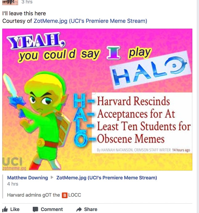 Students in Harvard's main Facebook meme group joked about the prospective students.