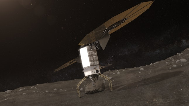 Illustration of spacecraft capturing the boulder