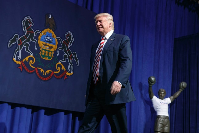 Republican presidential candidate Donald Trump arrives for a campaign rally at Sun Center Studios, Thursday, Sept. 22, 2016, in Aston, Penn.