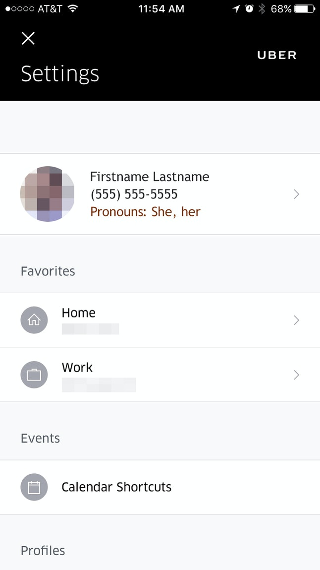 A mockup of Uber's settings page with gender options