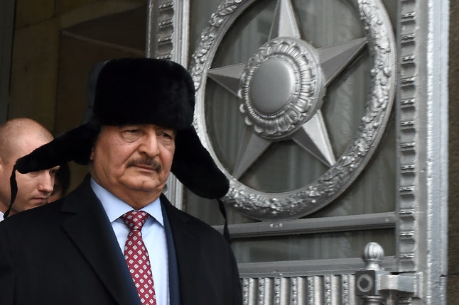 General Khalifa Haftar visited a Russian aircraft carrier off the coast of Tobruk in January.