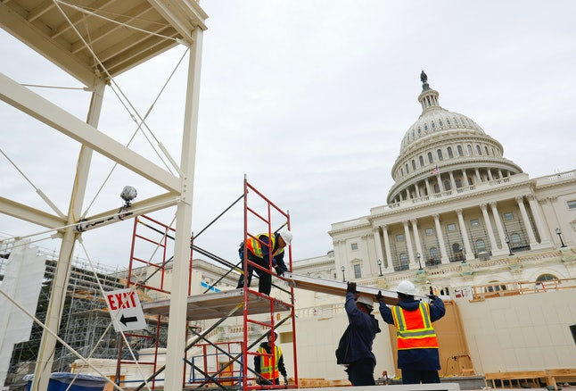 Construction on the platform for Trump's inauguration at the U.S. Capitol Building.