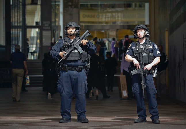 Security outside Madison Square Garden in New York City