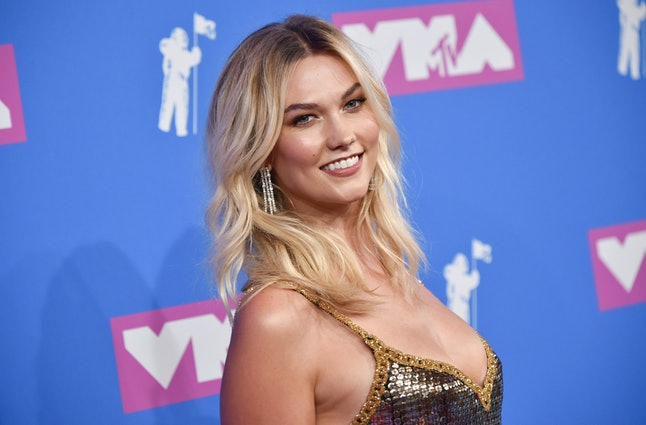 Karlie Kloss arrives at the MTV Video Music Awards at Radio City Music Hall on Monday, Aug. 20, in New York.