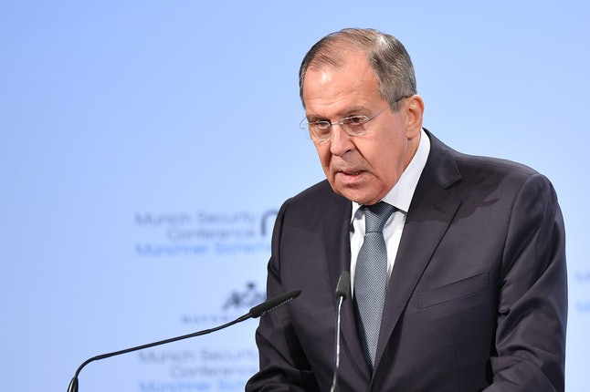 Sergey Lavrov delivers an address at the Munich Security Conference on Saturday.