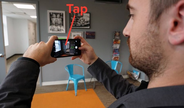 Adjust exposure by tapping and holding the screen, then swiping up or down.