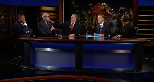 Larry Wilmore (second from left) called out Milo Yiannopoulos (far right)
