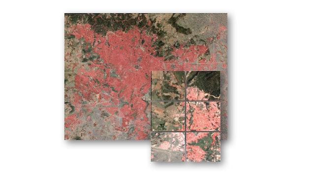 Satellite imagery of Addis Ababa, Ethiopia, shows human settlement patterns.