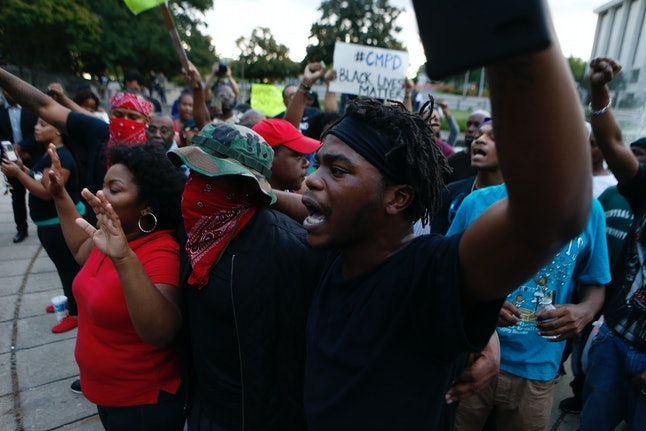 Protesters are pictured during a demonstration over the fatal police shooting of Keith Lamont Scott in Charlotte, North Carolina.