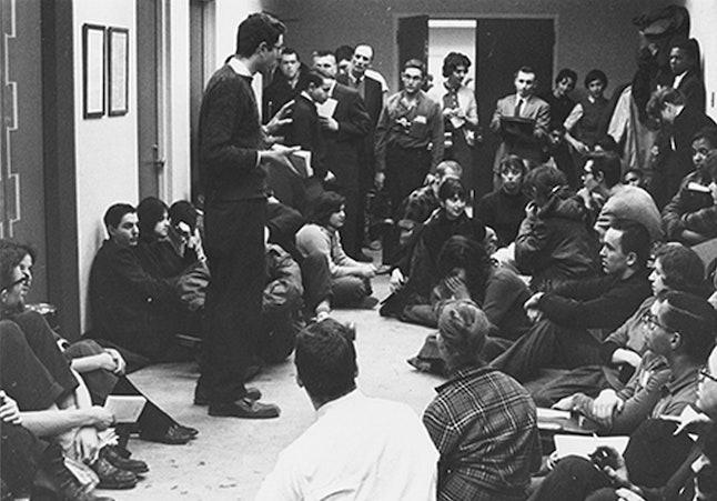 Bernie Sanders speaks to fellow students at a 1962 sit-in.