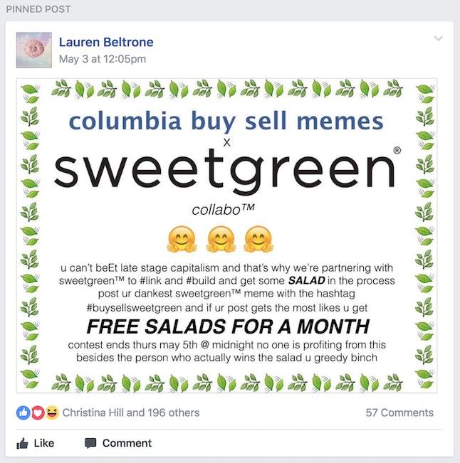 Source: Columbia Buy Sell Memes/Facebook