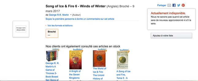 A screenshot of 'The Winds of Winter' page on Amazon France.