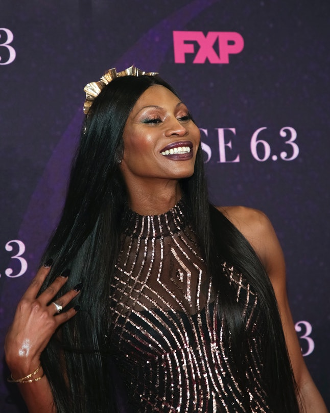 """Actress Dominique Jackson attends the premiere of FX's """"Pose"""" at the Hammerstein Ballroom on Thursday, May 17, 2018, in New York."""