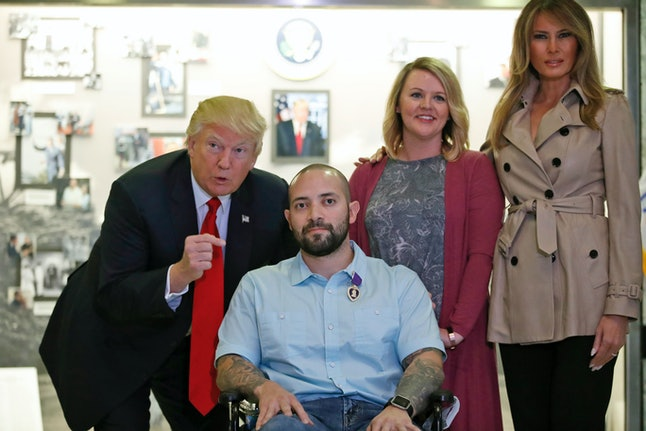President Donald Trump congratulated Sgt. 1st Class Alvaro Barrientos on his Purple Heart.