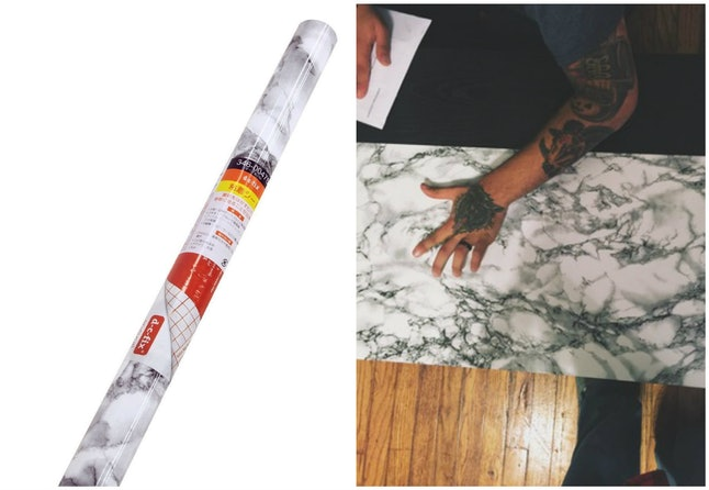White Marble Contact Paper Shows How Absurdly Simple It Is